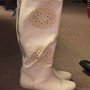 Cream knee high boot size 8